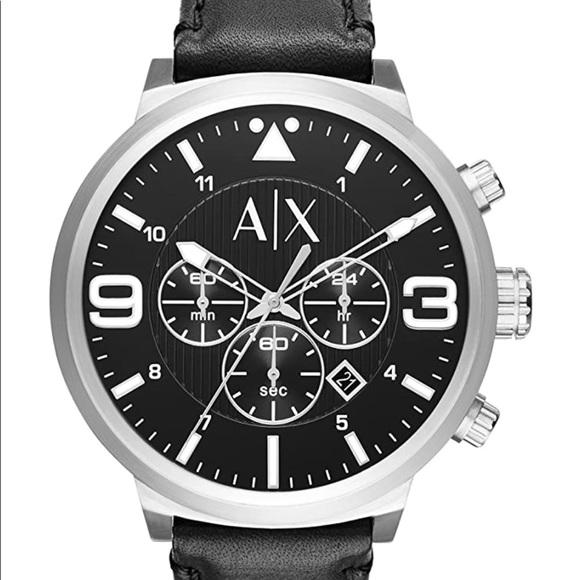 Armani Exchange Men's  Black Leather watch